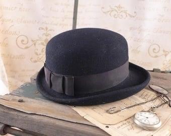 Bowler hat, bowler hat, male hat, hat, black hat, black bowler hat,  vinatge hat,