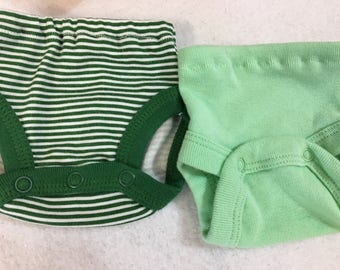 "BOY Baby Doll Diaper Cover, Panty, 15 inch Bitty Baby or Twin, 16"" Cabbage Patch Kids Dolls, SET OF 2 for 3.00, Green Stripes and Green"