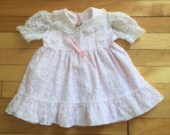 Vintage 1980s Baby Infant Girls Pink White Lace Dress! Size 12 months