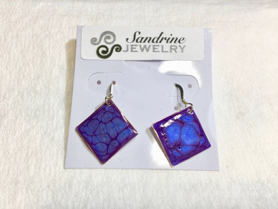 Handmade small diamond shape dark blue enamel silver plated earrings with abstract designs