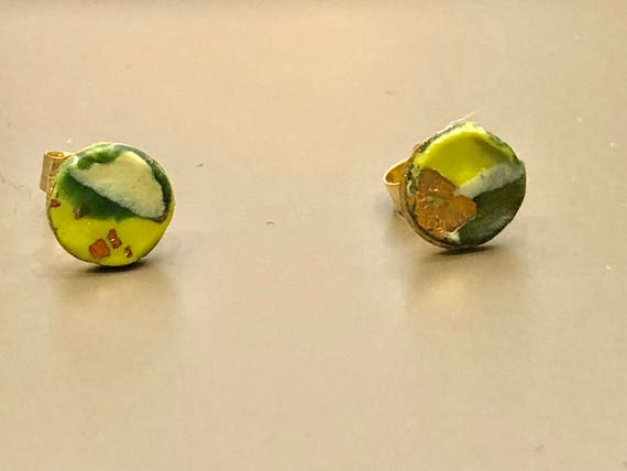 Earrings - contemporary handmade green/yellow/gold polymer clay 14K gold filled studs