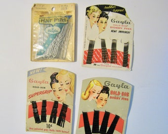 Vintage beauty shop merchandise. NOS in package. Hair pins and bobby pins from Gayla. 1940s-1950s hair accessories black, brown, silver