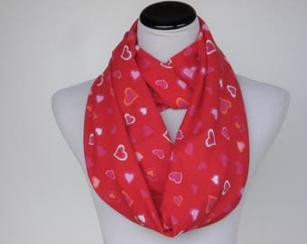 red scarf valentine scarf hearts infinity scarf adult child scarf matching scarf for mom