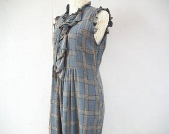 1990s vintage checkered sleeveless midi dress size medium