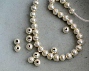 50 Karen Hill Tribe Silver Beads, 5mm Round Silver Beads, Thai Silver Beads, Hill Tribe Silver Jewelry, Handmade Beads, 50 Beads, AL15-013