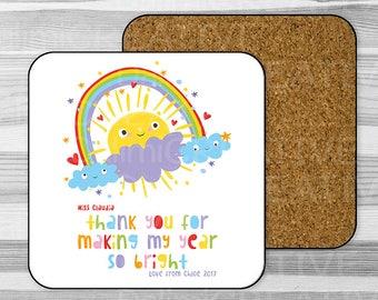 Preschool Teacher Appreciation Gift - End Of Term Gift - Childcare Teacher Gift - Teachers Assistant Gift - Personalised Coaster!