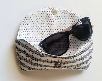 Sheet Music Fabric Sunglasses Case, Sunnies Pouch, Eyeglasses Pouch, Gift