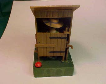 Vintage Mechanical Outhouse  # 606 Comic Hillbilly Out House Open Door and Man Is Going  1950s
