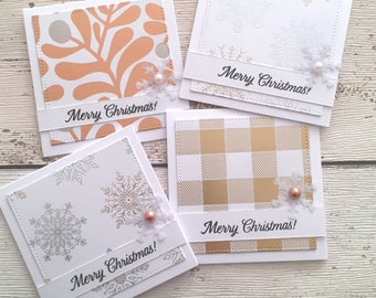 4 Mini Handmade Rose Gold Silver 'Merry Christmas' Cards Note Cards for Festive Occasion With Envelope