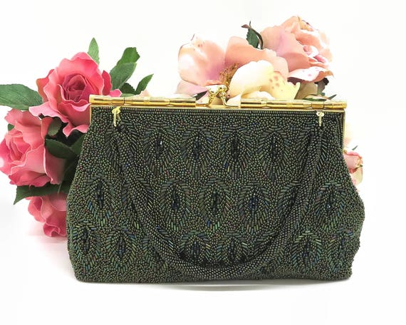 Mid century green beaded handbag with iridescent green beads in different shades in pattern of leaves, beaded handle, kiss lock, 1960s