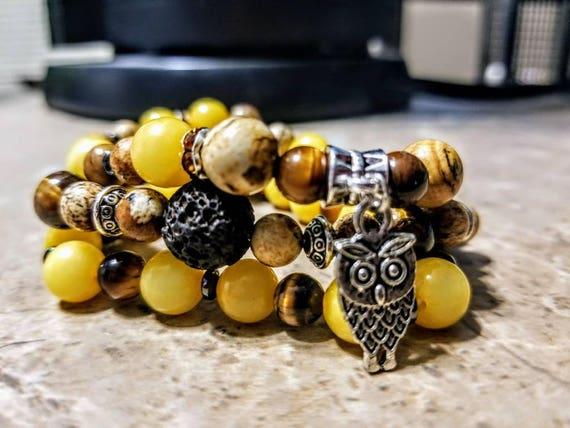 3 Strand Diffuser Power Bracelets - Citrine, Tiger's Eye, Picasso Jasper and Lava rock. Yoga, meditation, chakra, mala, buddhist, reiki