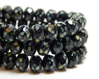 8x6mm Black Rondelles, Black Beads, Black Glass Beads, Black Rondelles, 8mm Black Beads, Czech Rondelles, Black Faceted Beads, T-66C