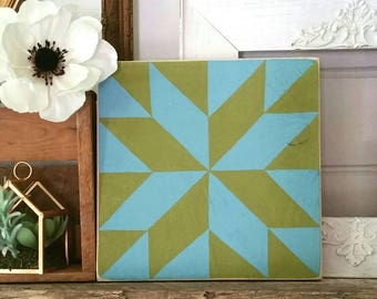 Handpainted quilt block decor - olive green and dark teal