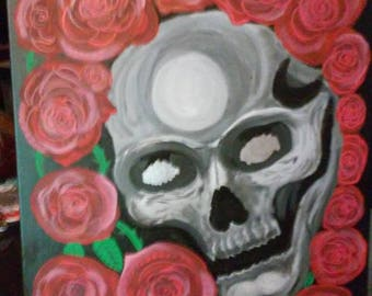 Art/Painting 16x20 Skull & Roses Acrylic/Oil on Stretched Canvas!