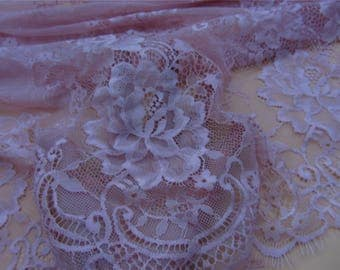 Dusty rose lace ,1yard Chantilly lace fabric sold by yard,wedding Lace trim,150cm Eyelash lace for lace dress