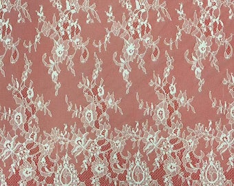 "Floral dress lace ,eyelash Lace Fabric sell by yard ,off  White Chantilly Lace fabric  for wedding 59"" width-7178"