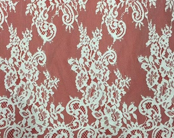"""Rose eyelash Lace Fabric ,off  White Chantilly Lace fabric  for wedding 59"""" width 3 yards-7096"""