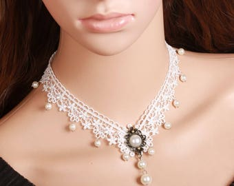 Romantic White Lace Choker Necklace with Pearls