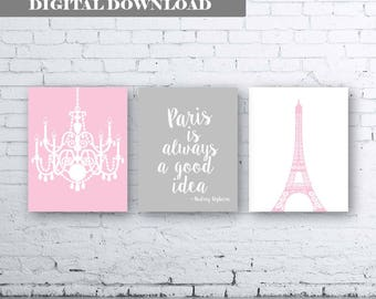 French Eiffel Tower Chandelier Prints Set of Three (3)-Instant Download. Paris is always a good idea quote. Pink Gray French Wall Art. Paris