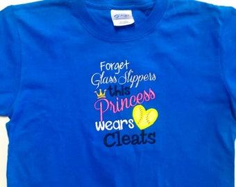 Softball Princess - Girls Softball Shirt - Softball Team Shirt - Softball Player - Softball Gift - Softball Sayings - Embroidered Shirt