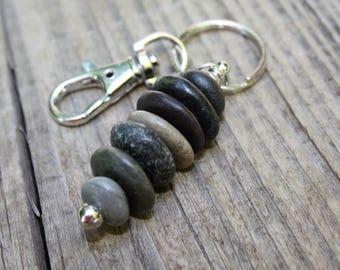 Lake Superior rock key ring, pebble key ring, natural stone, rock art, rock jewelry, stone key chain, North Shore, Minnesota rocks, agate