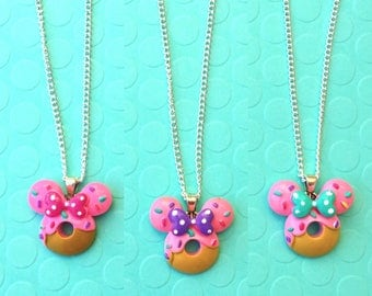 Handmade Minnie Mouse Inspired Donut Necklace or Keychain - Polymer Clay - Three Color Options