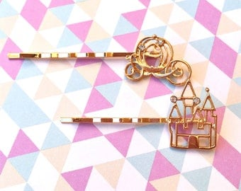"Femme Fairy Tale & Fantasy Collection ""Castle and Carriage"" Princess Castle and Cinderella Carriage Bobby Pin Set"