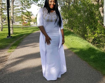 White Beaded Kaftan Dress, Kaftan Maxi Dress, Dubia Kaftan, Gold Beaded  Dress,