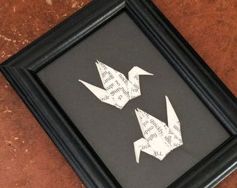 Origami Birds in Black Wooden Frame - Wall Decor - Origami Art - Origami Crane Decorations - Small Wooden Frame - Wall Decoration - Wall Art