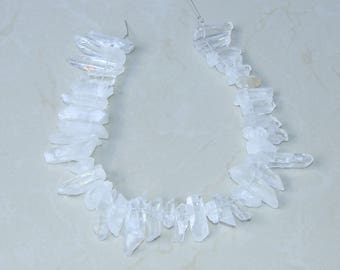 Clear Quartz Points - Quartz Crystal Points - Random length - 16 inch strand - 10mm - 45mm - 5449