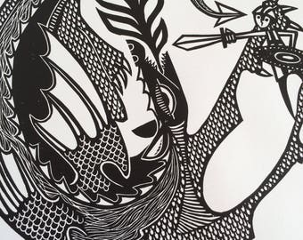 George and the Dragon print - hand printed medieval-style linocut / linoprint (30cm x 30 cm, signed by artist)