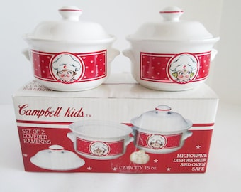 Vintage Campbell Kids Ramekins NIB; Campbell's Soup Company, Campbell's Kids Covered Soup/Chili Bowls 1990, New in Box, 3 Sets Available