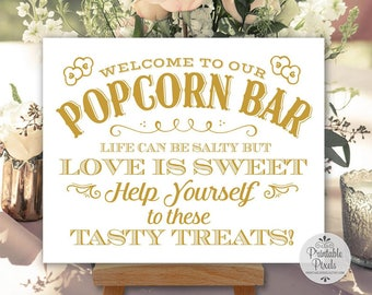 Printable Popcorn Bar Wedding Sign, Gold Matte Lettering, Party, Life Can Be Salty But Love Is Sweet (#PC14G)
