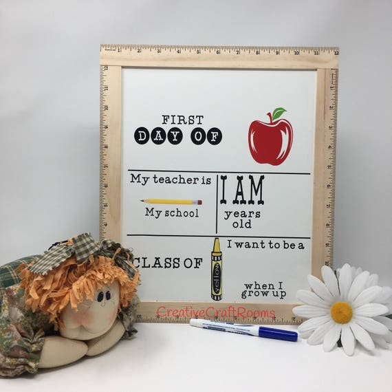 Ruler Framed First Day Of School Reusable Whiteboard Sign, Back To School Dry Erase Sign, Back to School Sign, First Day Of School Sign