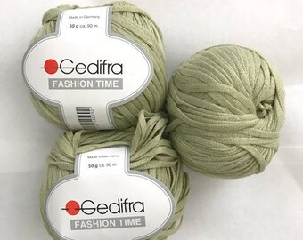NEW Green Gedifra Yarn Lot/3,Ribbon Yarn, 50 g. 98 yds EA,Fashion Time Aran Cotton, Flat Yarn, Discontinued , Wide Yarn, ,Made in Germany