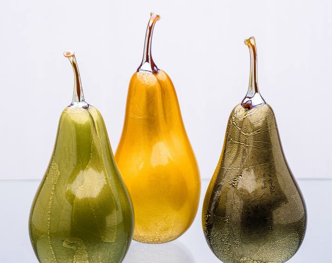 Hand Sculpted Glass Pear Sculptures