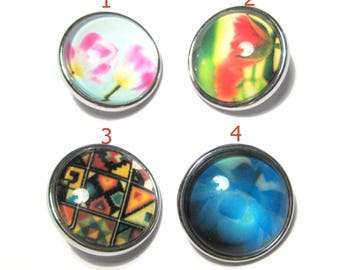 Silver Tone Round Snap Buttons Charms(No.34)