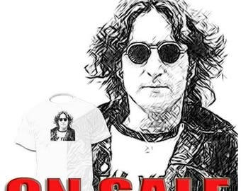 40% OFF Sale John Lennon Beatles Drawing T shirt More Drawings InStor George Harrison