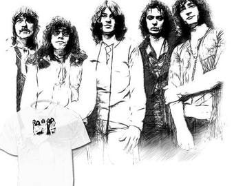 40% OFF Sale Deep Purple Drawing T shirt Art Ritchie Blackmore Joe Satriani Drawings Availabl