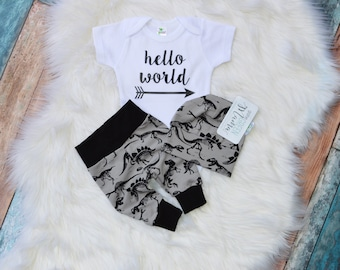 Ready to ship, coming home outfit boy, hello world newborn outfit, boy coming home outfit, newborn boy coming home outfit, newborn boy photo