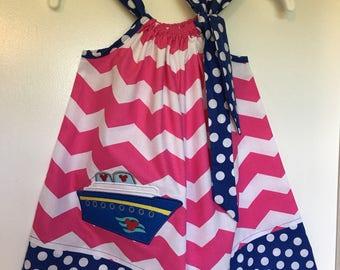 Pillowcase Dress,Pink chevron and blue polka dot w/Disney cruise ship,Summer dress, Birthday dress/Baby dress