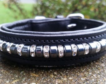 "Small 10-12"" Dog Collar Hematite/Crystal"