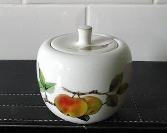 Royal Worcester Evesham Sugar Bowl / Preserve Pot Apple Shape