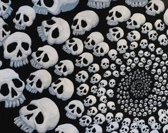 Fabric - Alexander Henry -Skullfinity black and white- cotton print.