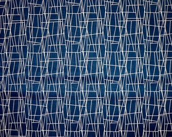 Fabric - Michael Miller - Atomic Web Navy - medium weight woven cotton fabric.