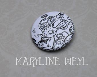 "badge pin ""Alice in Wonderland of"" the rabbit"