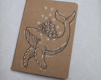 "Sketchbook - Notebook Kraft ""Whale and crystals"""