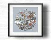 SALE! LTD EDITION Born to Roam Wild in Winter - A4 Sq Giclée Print - Wild Animals, Fox, Badger, Otters, Red Squirrel, Hare, Owl, Stag & Tree