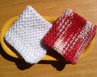 Cotton knit dishcloths, seed stitch dishcloths, soft wash cloths, red and white cloths, bridal shower gift, baby shower gift,  set of 2