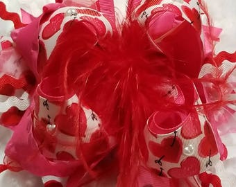 valentine over the top hair bow red